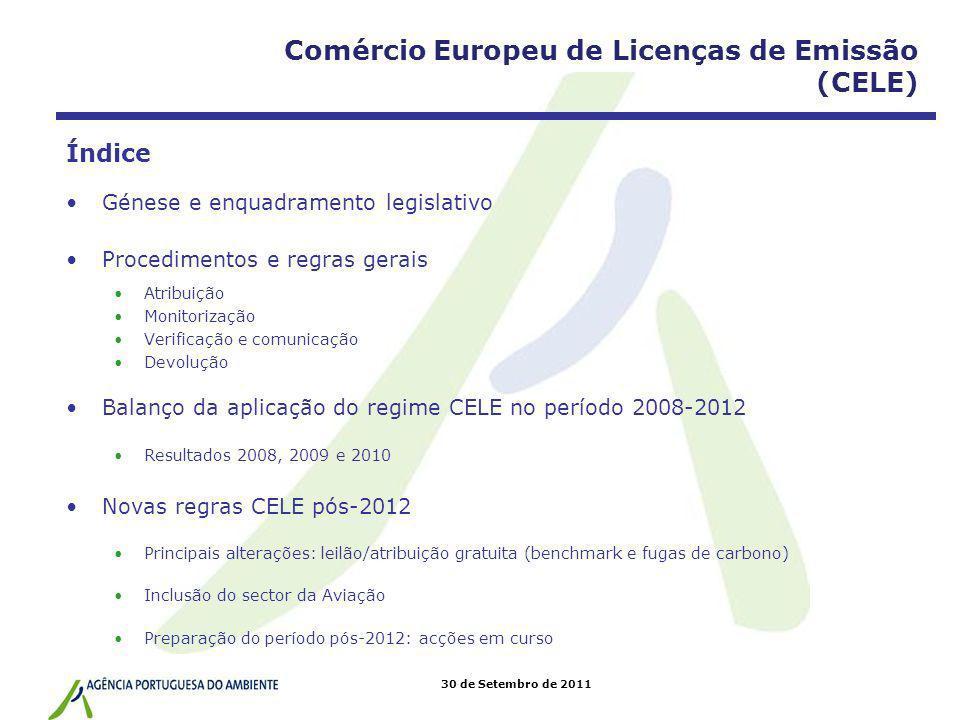 30 de Setembro de 2011 Convenção Quadro das Nações Unidas sobre Alterações Climáticas (CQNUAC) + Protocolo de Quioto (PQ) Mecanismo de Desenvolvimento Limpo (MDL) Comércio de Licenças de Emissão Implementação Conjunta (IC) CER* ERU* AAU* 3 Génese * AAU: Alocated Amount Unit/Unidade de Quantidade Atribuída (UQA) ERU: Emission Reduction Unit/Unidade de Redução de Emissões (URE) CER: Certified Emission Reduction/Redução de Emissões Certificada (RCE) Comércio Europeu de Licenças de Emissão
