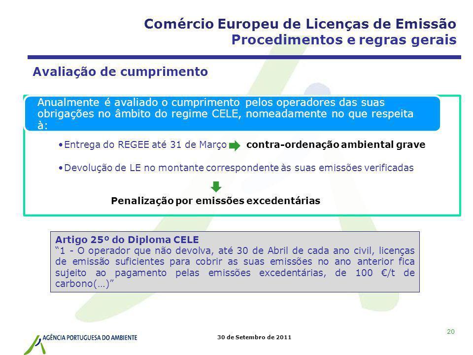 30 de Setembro de 2011 20 Avaliação de cumprimento Entrega do REGEE até 31 de Março contra-ordenação ambiental grave Devolução de LE no montante corre