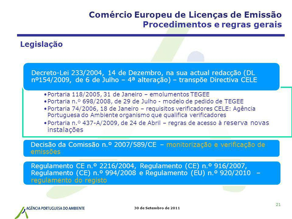 30 de Setembro de 2011 21 Legislação Portaria 118/2005, 31 de Janeiro – emolumentos TEGEE Portaria n.º 698/2008, de 29 de Julho - modelo de pedido de