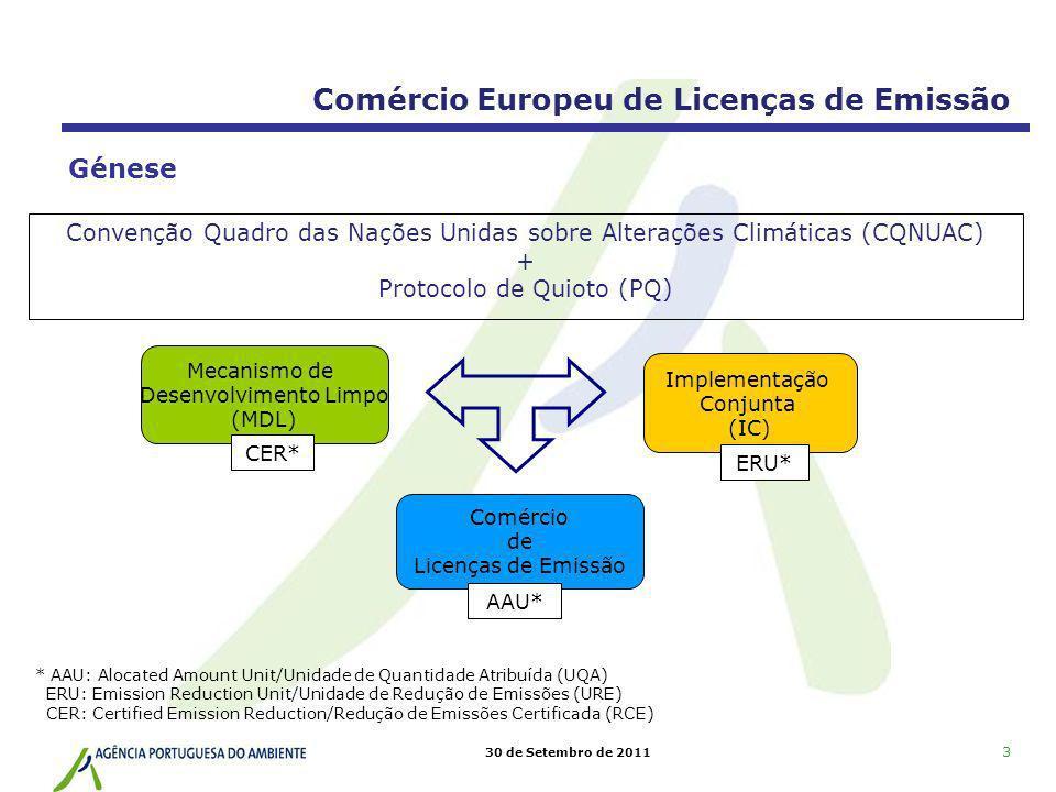 30 de Setembro de 2011 Directiva CELE Directiva 2003/87/CE, do Parlamento Europeu e do Conselho, de 13 de Outubro Em Portugal é transposta pelo Decreto-Lei n.º 233/2004, 14 de Dezembro (Diploma CELE) APA - autoridade competente Articulação do regime CELE com os mecanismos baseados em projectos do Protocolo de Quioto Directiva Linking Directiva 2004/101/CE do Parlamento Europeu e do Conselho, de 27 de Outubro Em Portugal o Diploma CELE é actualizado: Decreto-Lei n.º 72/2006, 24 de Março Enquadramento legislativo Comércio Europeu de Licenças de Emissão Última actualização do Diploma CELE: Decreto-Lei n.º 154/2009, de 6 de Julho 4