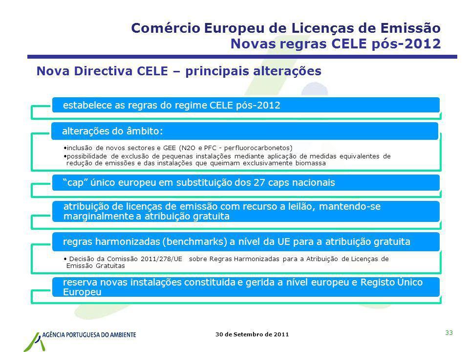 30 de Setembro de 2011 33 estabelece as regras do regime CELE pós-2012 inclusão de novos sectores e GEE (N2O e PFC - perfluorocarbonetos) possibilidad
