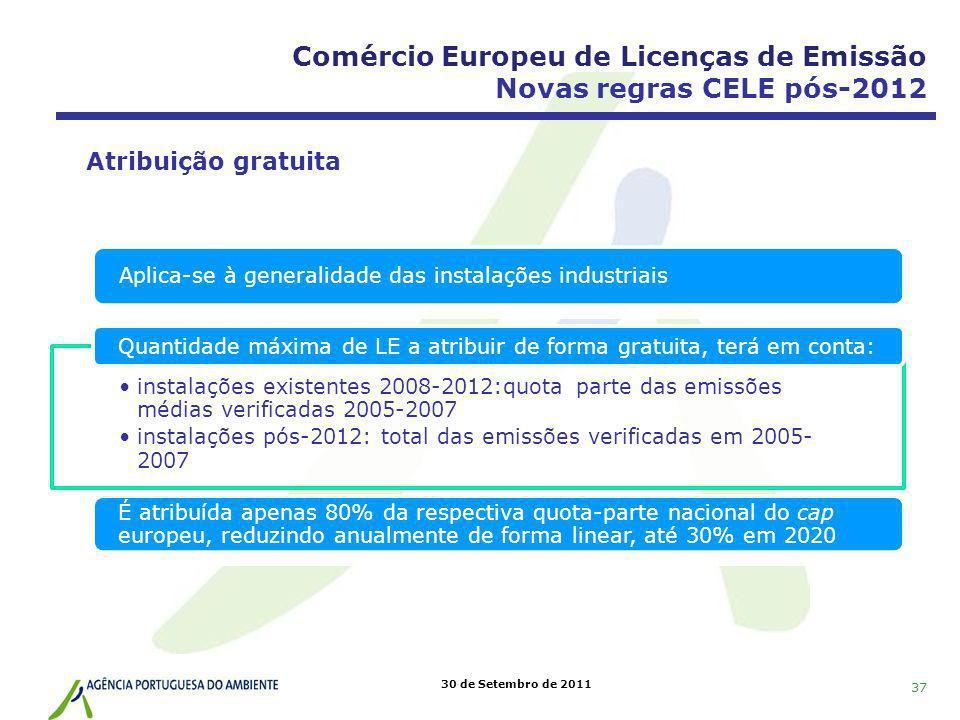 30 de Setembro de 2011 Aplica-se à generalidade das instalações industriais instalações existentes 2008-2012:quota parte das emissões médias verificad