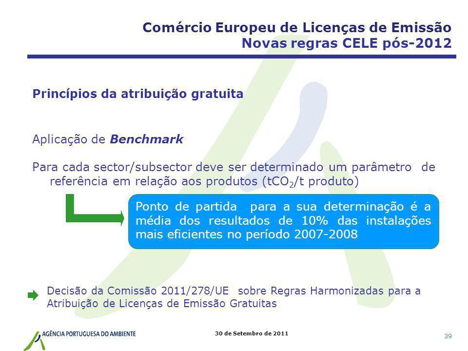 30 de Setembro de 2011 Princípios da atribuição gratuita Aplicação de Benchmark Para cada sector/subsector deve ser determinado um parâmetro de referê