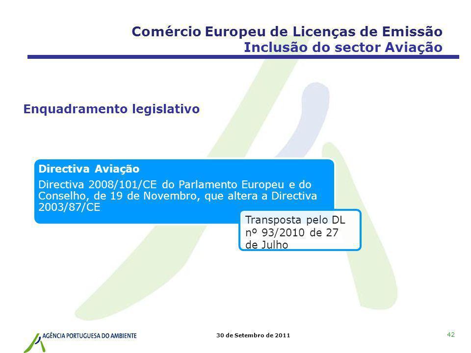 30 de Setembro de 2011 Directiva Aviação Directiva 2008/101/CE do Parlamento Europeu e do Conselho, de 19 de Novembro, que altera a Directiva 2003/87/