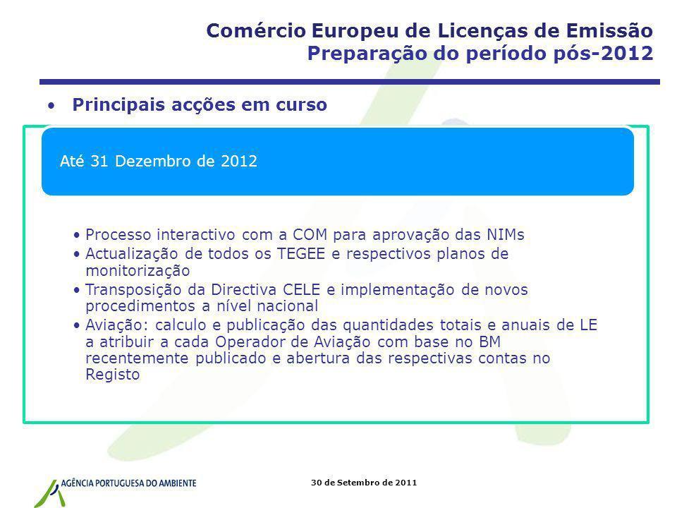 30 de Setembro de 2011 Principais acções em curso Processo interactivo com a COM para aprovação das NIMs Actualização de todos os TEGEE e respectivos
