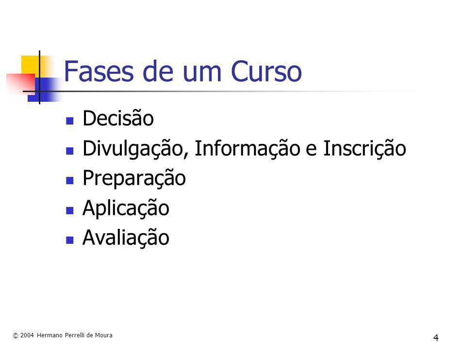 © 2004 Hermano Perrelli de Moura 4 Fases de um Curso Decisão Divulgação, Informação e Inscrição Preparação Aplicação Avaliação