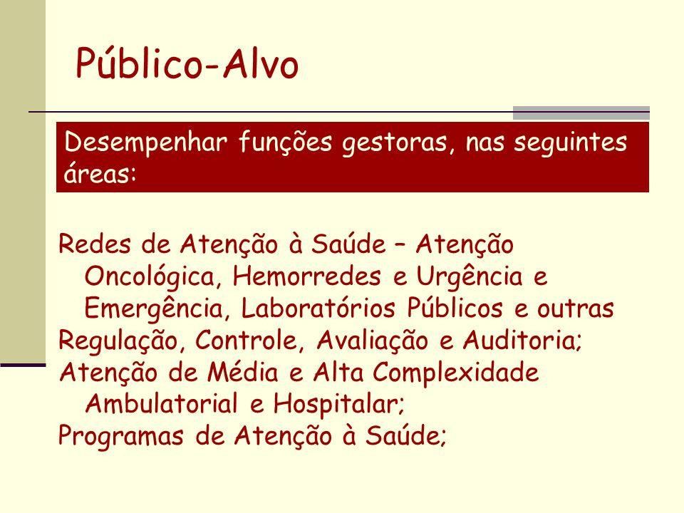 Público-Alvo Desempenhar funções gestoras, nas seguintes áreas: Redes de Atenção à Saúde – Atenção Oncológica, Hemorredes e Urgência e Emergência, Lab