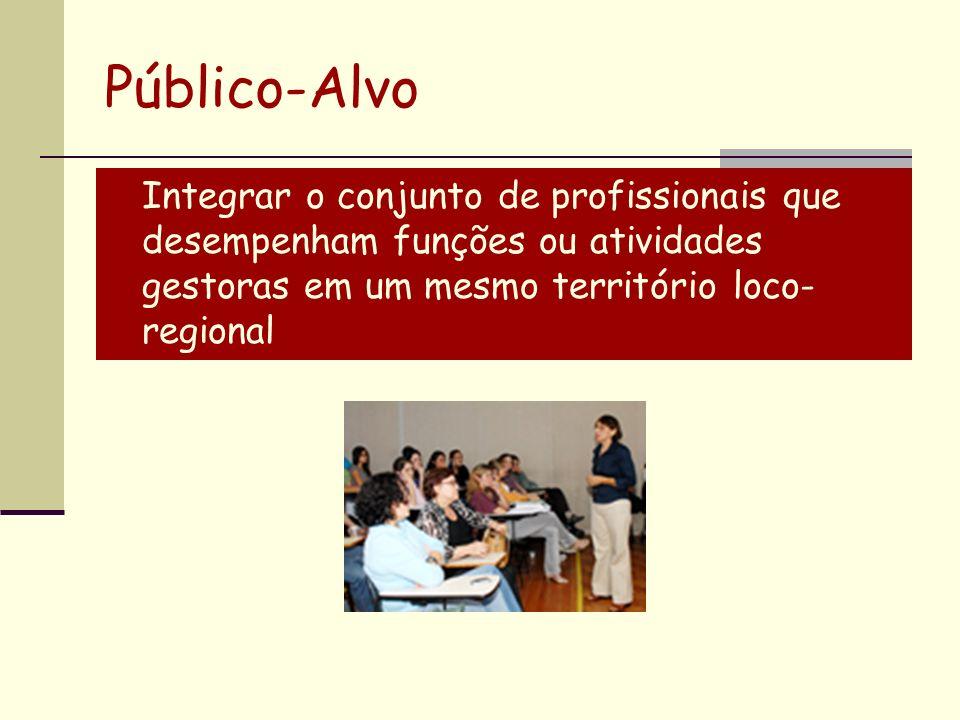 Integrar o conjunto de profissionais que desempenham funções ou atividades gestoras em um mesmo território loco- regional Público-Alvo