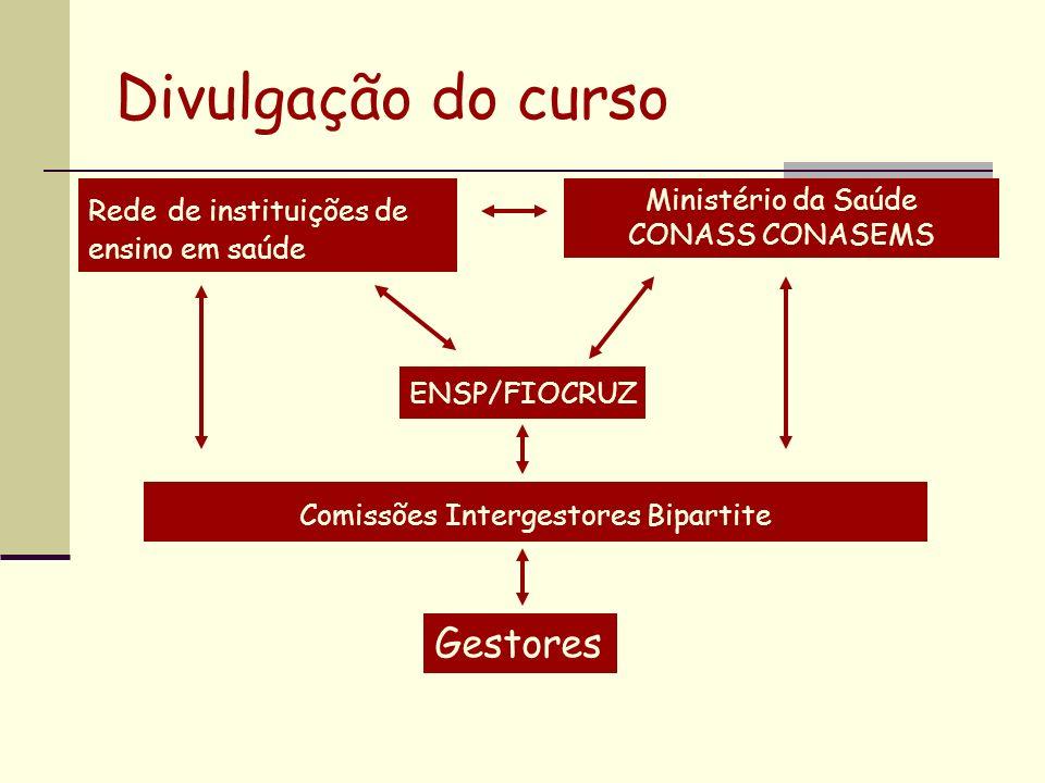 Divulgação do curso Comissões Intergestores Bipartite Rede de instituições de ensino em saúde ENSP/FIOCRUZ Ministério da Saúde CONASS CONASEMS Gestore
