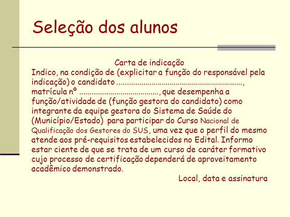 Seleção dos alunos Carta de indicação Indico, na condição de (explicitar a função do responsável pela indicação) o candidato..........................