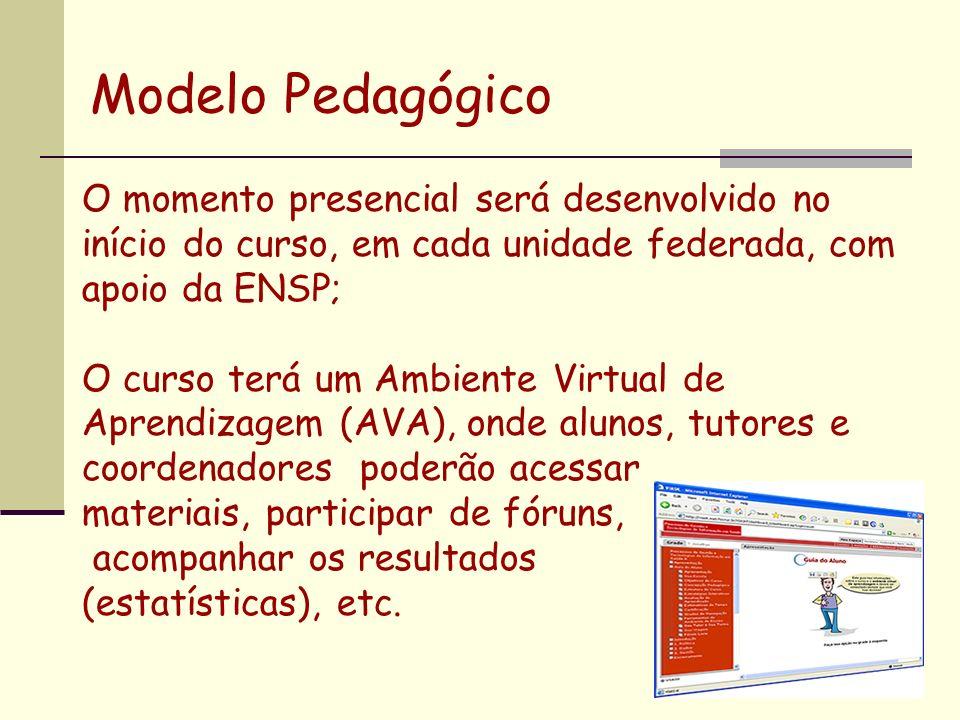 O momento presencial será desenvolvido no início do curso, em cada unidade federada, com apoio da ENSP; O curso terá um Ambiente Virtual de Aprendizagem (AVA), onde alunos, tutores e coordenadores poderão acessar materiais, participar de fóruns, acompanhar os resultados (estatísticas), etc.