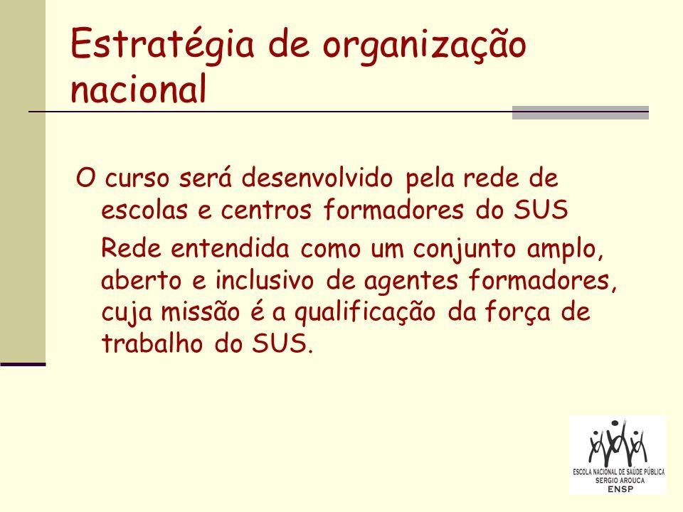Estratégia de organização nacional O curso será desenvolvido pela rede de escolas e centros formadores do SUS Rede entendida como um conjunto amplo, aberto e inclusivo de agentes formadores, cuja missão é a qualificação da força de trabalho do SUS.