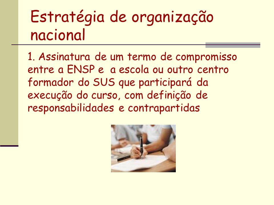 1. Assinatura de um termo de compromisso entre a ENSP e a escola ou outro centro formador do SUS que participará da execução do curso, com definição d