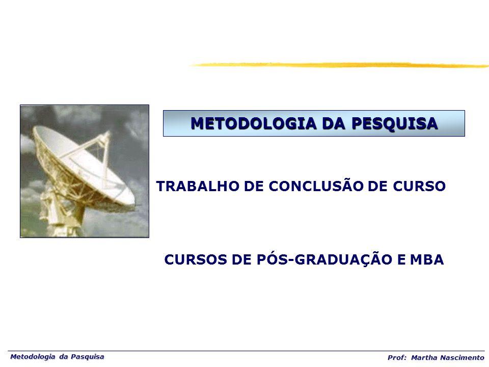 Metodologia da Pasquisa Prof: Martha Nascimento METODOLOGIA DA PESQUISA TRABALHO DE CONCLUSÃO DE CURSO CURSOS DE PÓS-GRADUAÇÃO E MBA