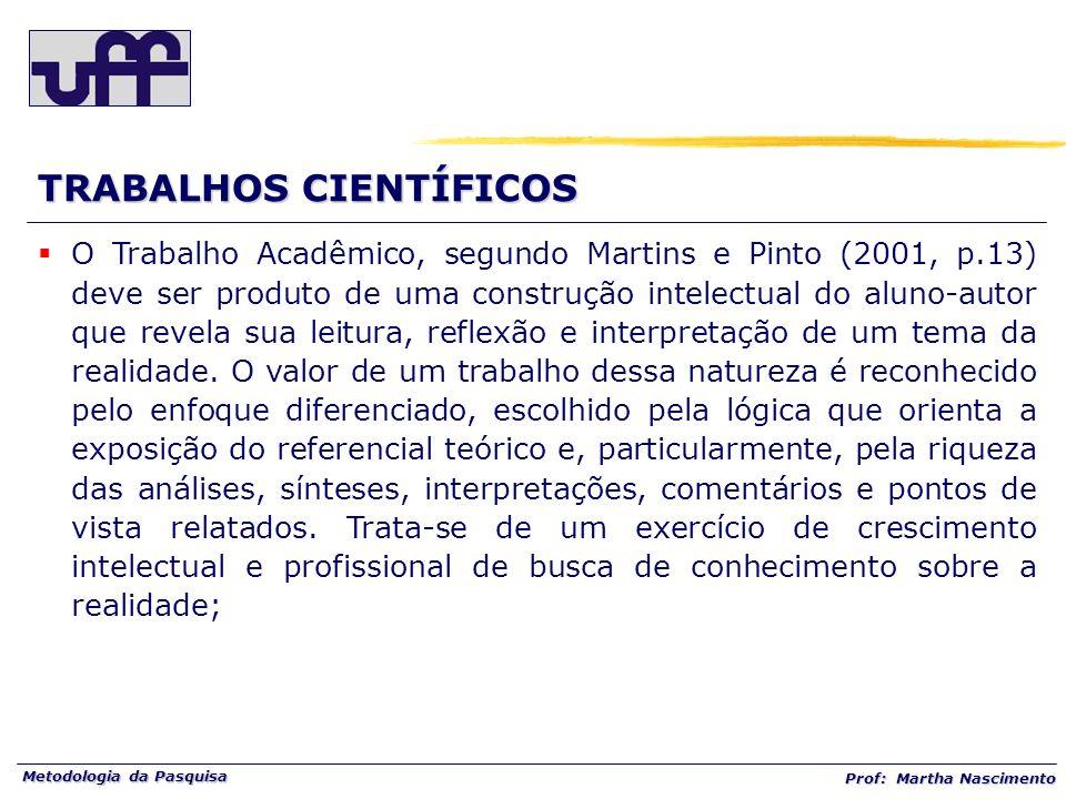 Metodologia da Pasquisa Prof: Martha Nascimento O Trabalho Acadêmico, segundo Martins e Pinto (2001, p.13) deve ser produto de uma construção intelect
