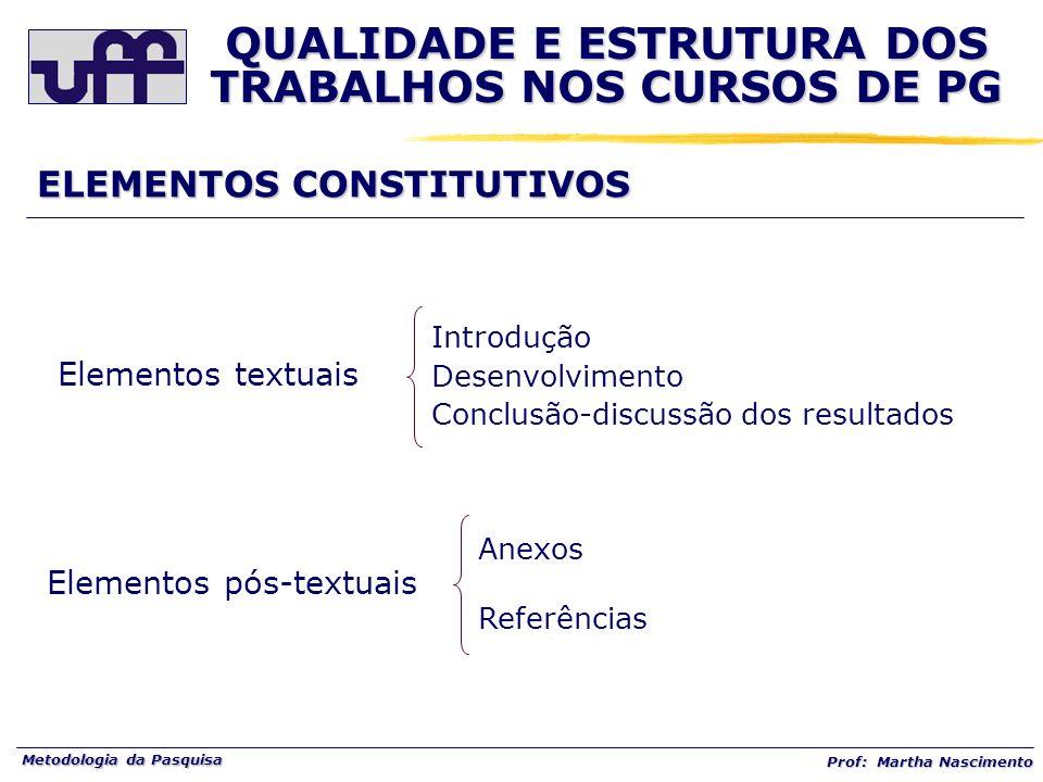 Metodologia da Pasquisa Prof: Martha Nascimento ELEMENTOS CONSTITUTIVOS Elementos textuais Introdução Desenvolvimento Conclusão-discussão dos resultad