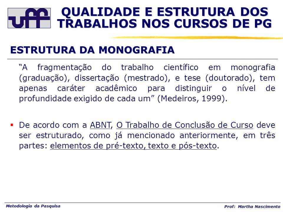 Metodologia da Pasquisa Prof: Martha Nascimento ESTRUTURA DA MONOGRAFIA A fragmentação do trabalho científico em monografia (graduação), dissertação (