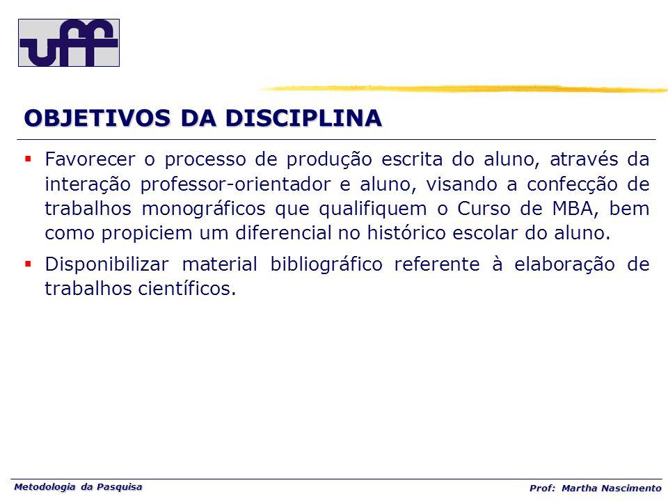 Metodologia da Pasquisa Prof: Martha Nascimento TRABALHOS CIENTÍFICOS FORMAS DE TRABALHOS CIENTÍFICOS: trabalho de conclusão de curso (TCC).