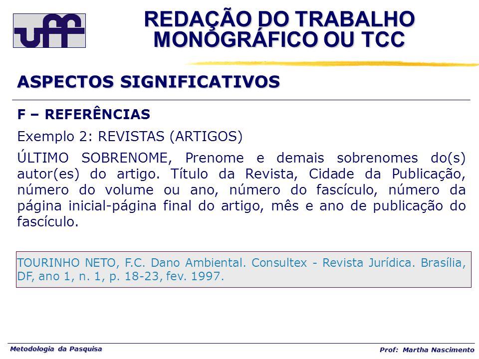 Metodologia da Pasquisa Prof: Martha Nascimento REDAÇÃO DO TRABALHO MONOGRÁFICO OU TCC ASPECTOS SIGNIFICATIVOS F – REFERÊNCIAS Exemplo 2: REVISTAS (AR