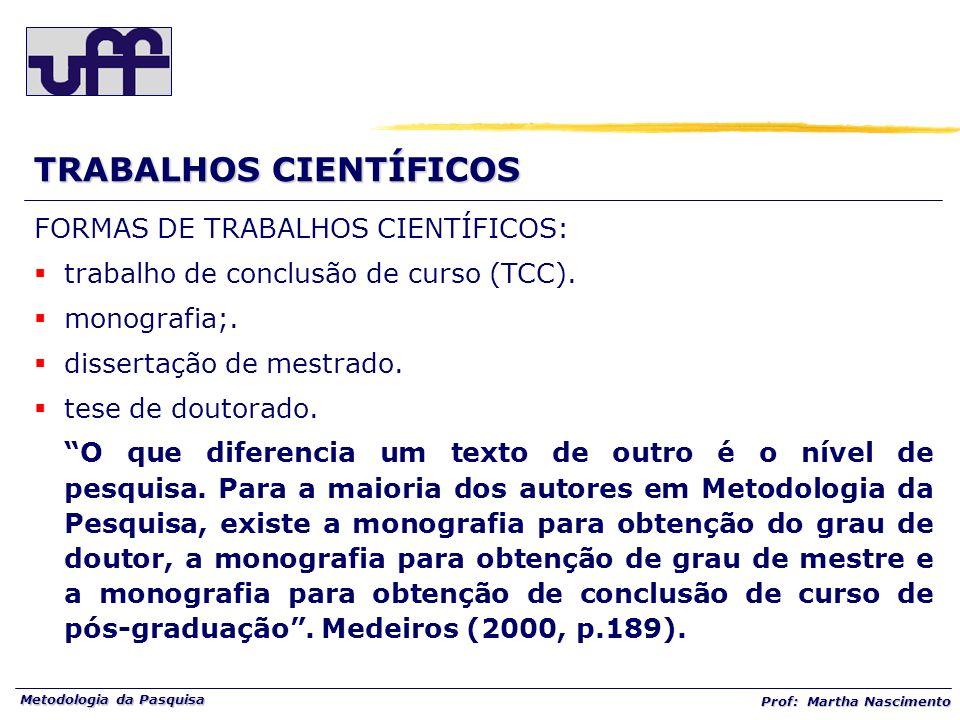 Metodologia da Pasquisa Prof: Martha Nascimento TRABALHOS CIENTÍFICOS FORMAS DE TRABALHOS CIENTÍFICOS: trabalho de conclusão de curso (TCC). monografi