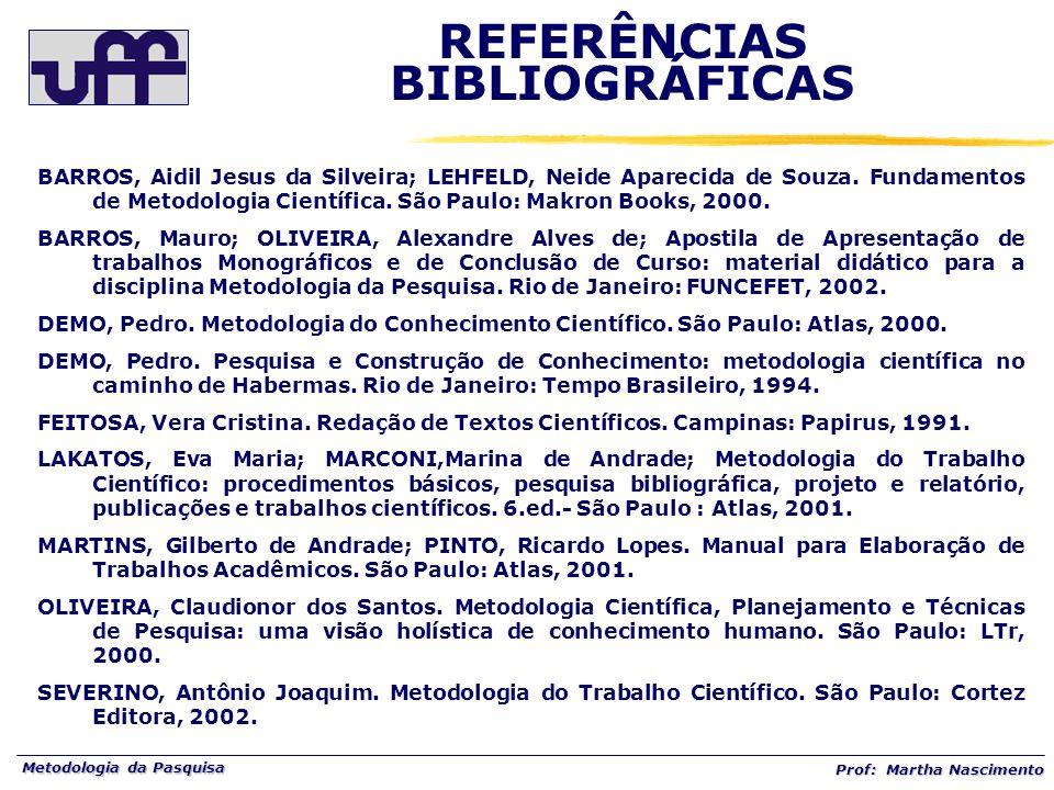 Metodologia da Pasquisa Prof: Martha Nascimento BARROS, Aidil Jesus da Silveira; LEHFELD, Neide Aparecida de Souza. Fundamentos de Metodologia Científ