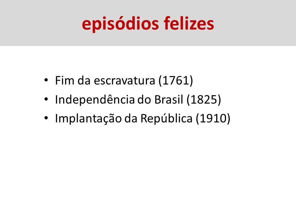 episódios felizes Fim da escravatura (1761) Independência do Brasil (1825) Implantação da República (1910)