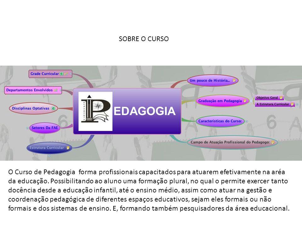 SOBRE O CURSO O Curso de Pedagogia forma profissionais capacitados para atuarem efetivamente na aréa da educação. Possibilitando ao aluno uma formação