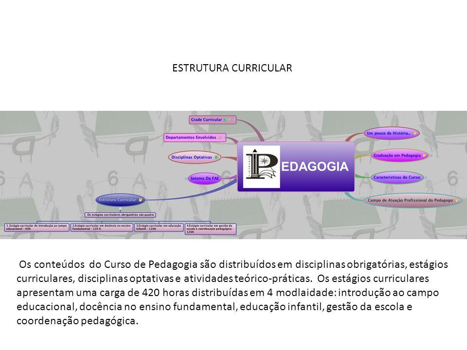 ESTRUTURA CURRICULAR Os conteúdos do Curso de Pedagogia são distribuídos em disciplinas obrigatórias, estágios curriculares, disciplinas optativas e atividades teórico-práticas.