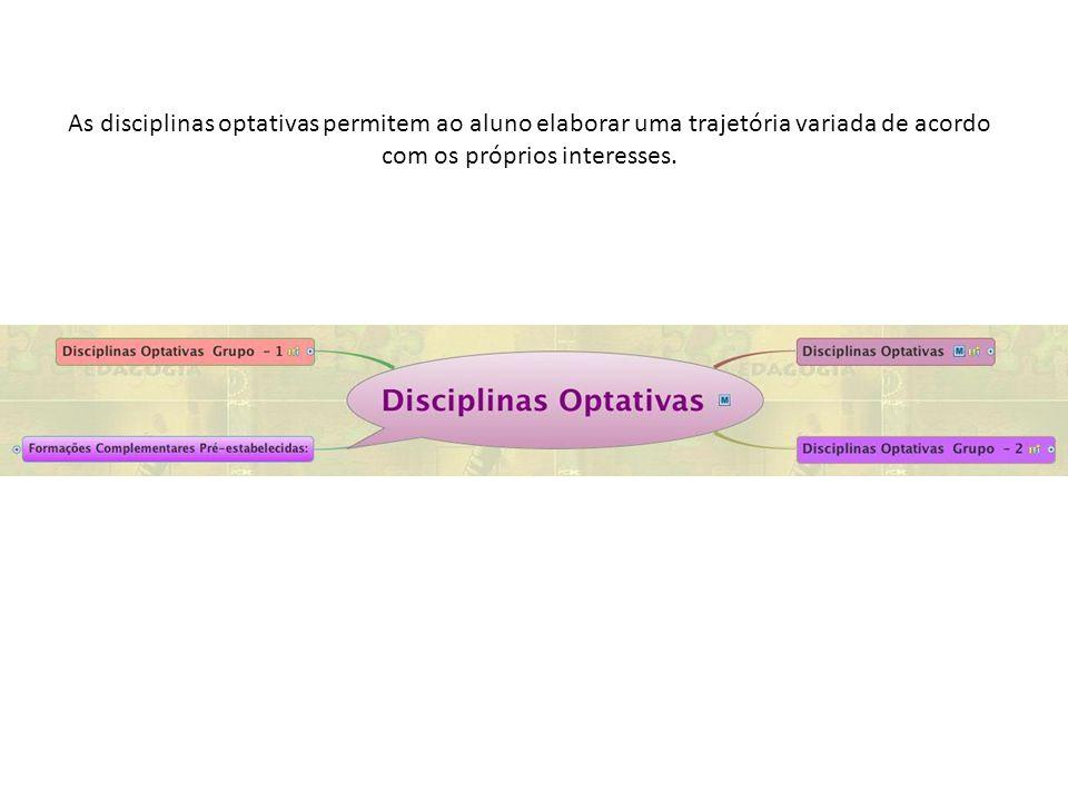 As disciplinas optativas permitem ao aluno elaborar uma trajetória variada de acordo com os próprios interesses.