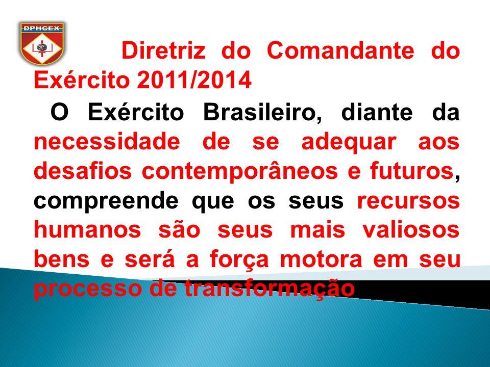 Diretriz do Comandante do Exército 2011/2014 O Exército Brasileiro, diante da necessidade de se adequar aos desafios contemporâneos e futuros, compreende que os seus recursos humanos são seus mais valiosos bens e será a força motora em seu processo de transformação.
