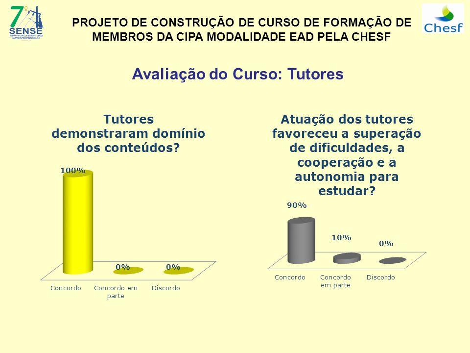 Avaliação do Curso: Tutores PROJETO DE CONSTRUÇÃO DE CURSO DE FORMAÇÃO DE MEMBROS DA CIPA MODALIDADE EAD PELA CHESF