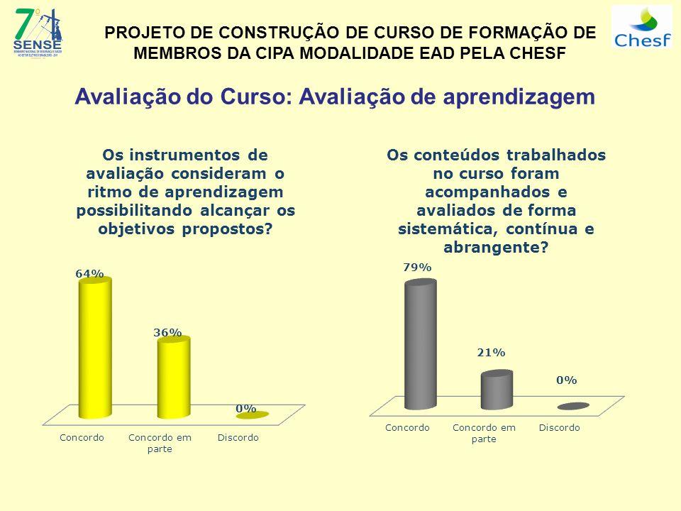 Avaliação do Curso: Avaliação de aprendizagem PROJETO DE CONSTRUÇÃO DE CURSO DE FORMAÇÃO DE MEMBROS DA CIPA MODALIDADE EAD PELA CHESF