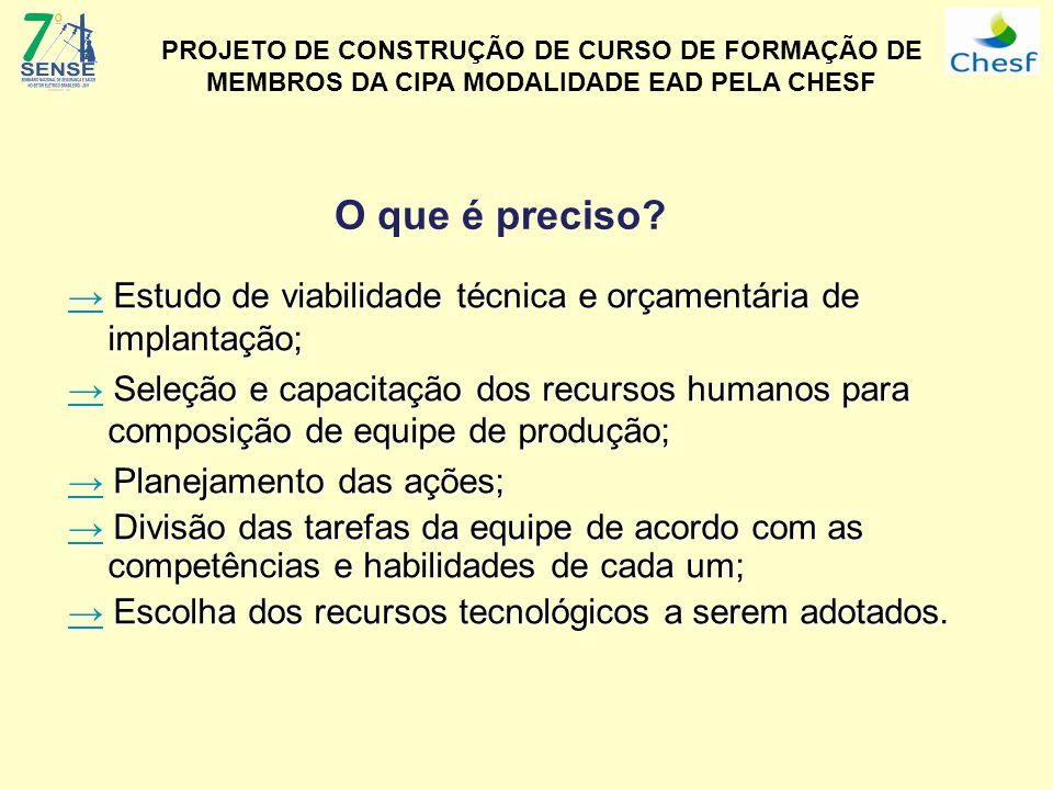 O que é preciso? Estudo de viabilidade técnica e orçamentária de implantação; Estudo de viabilidade técnica e orçamentária de implantação; Seleção e c