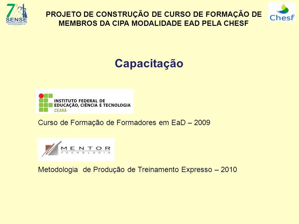 Capacitação Curso de Formação de Formadores em EaD – 2009 Metodologia de Produção de Treinamento Expresso – 2010 PROJETO DE CONSTRUÇÃO DE CURSO DE FOR
