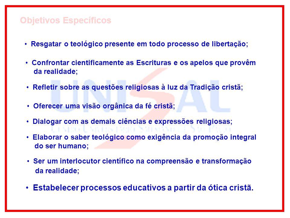 Estabelecer processos educativos a partir da ótica cristã.