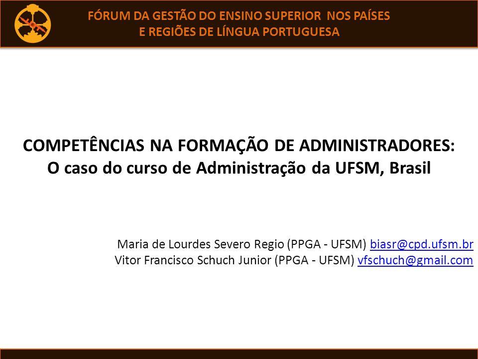 A qualificação do Ensino AVALIAÇÃO Avaliação efetiva EGRESSOS O Curso de Graduação em Administração da UFSM, RS, Brasil realidade de seus egressos pesquisada em 1976 Retomada competência conforme estabelecem as Diretrizes Curriculares Nacionais, DCNs.