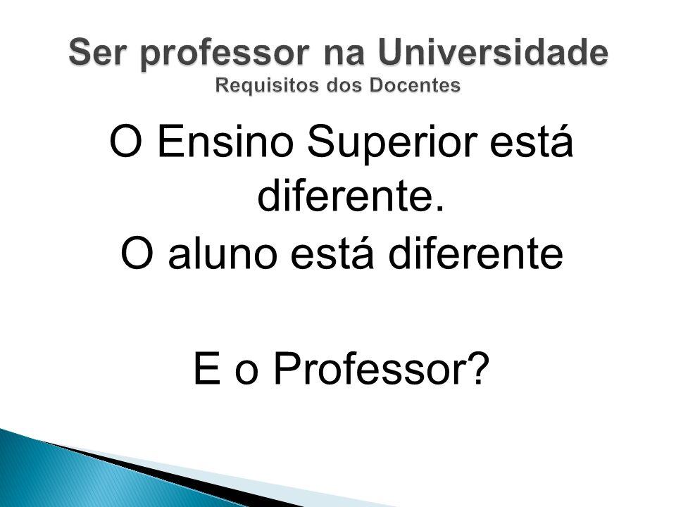O Ensino Superior está diferente. O aluno está diferente E o Professor?