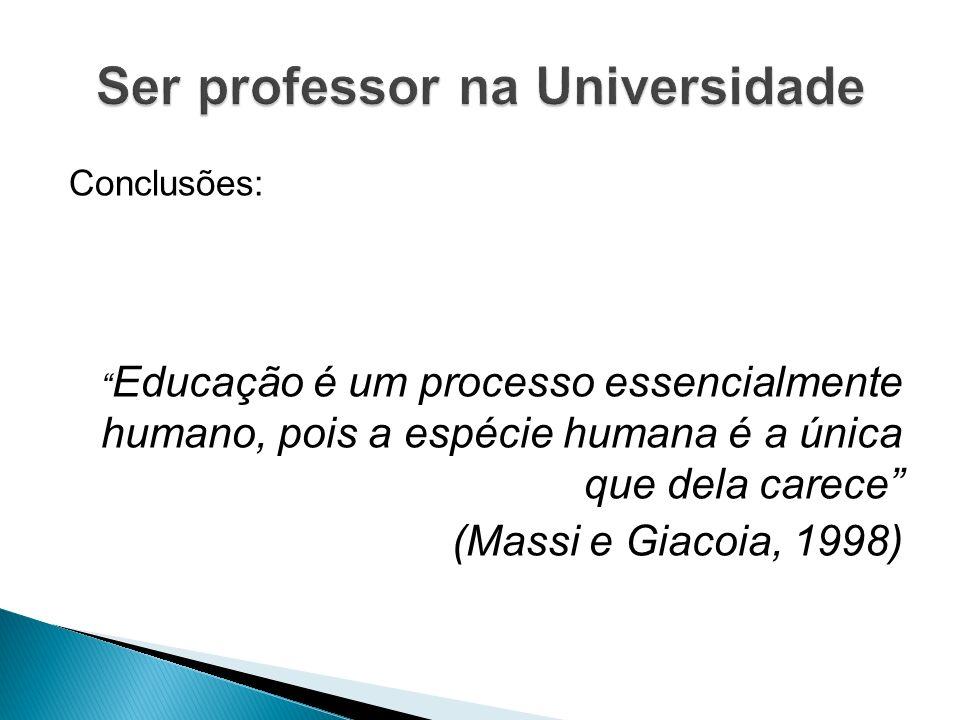 Conclusões: Educação é um processo essencialmente humano, pois a espécie humana é a única que dela carece (Massi e Giacoia, 1998)