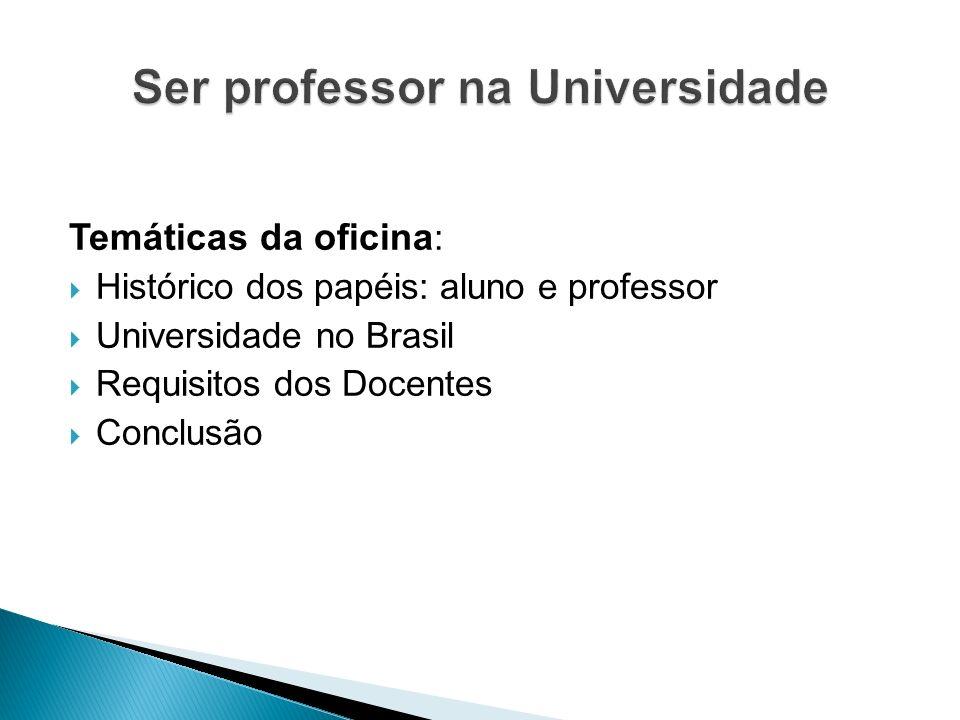 Temáticas da oficina : Histórico dos papéis: aluno e professor Universidade no Brasil Requisitos dos Docentes Conclusão