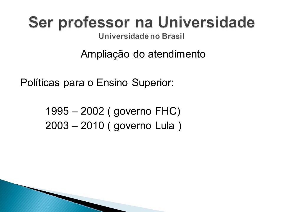 Ampliação do atendimento Políticas para o Ensino Superior: 1995 – 2002 ( governo FHC) 2003 – 2010 ( governo Lula )