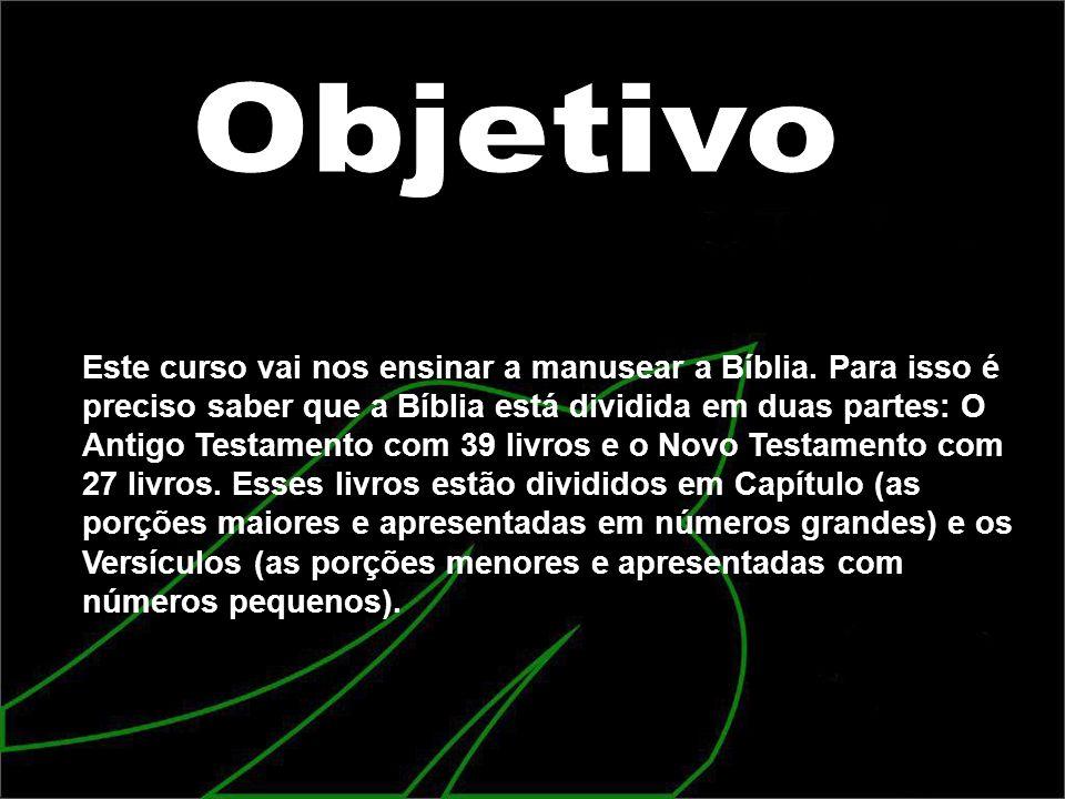 Este curso vai nos ensinar a manusear a Bíblia. Para isso é preciso saber que a Bíblia está dividida em duas partes: O Antigo Testamento com 39 livros