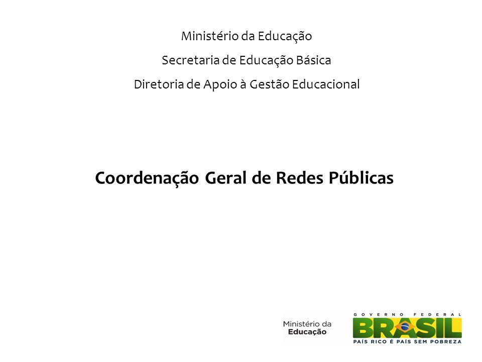 Coordenação Geral de Redes Públicas Ministério da Educação Secretaria de Educação Básica Diretoria de Apoio à Gestão Educacional