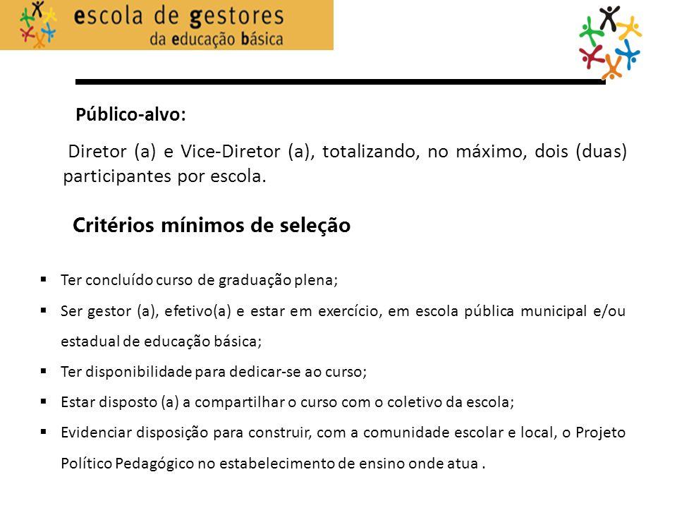 Critérios mínimos de seleção Público-alvo: Diretor (a) e Vice-Diretor (a), totalizando, no máximo, dois (duas) participantes por escola. Ter concluído