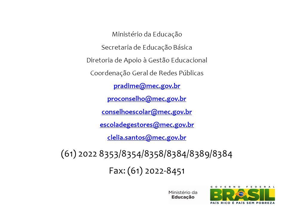 Ministério da Educação Secretaria de Educação Básica Diretoria de Apoio à Gestão Educacional Coordenação Geral de Redes Públicas pradime@mec.gov.br pr