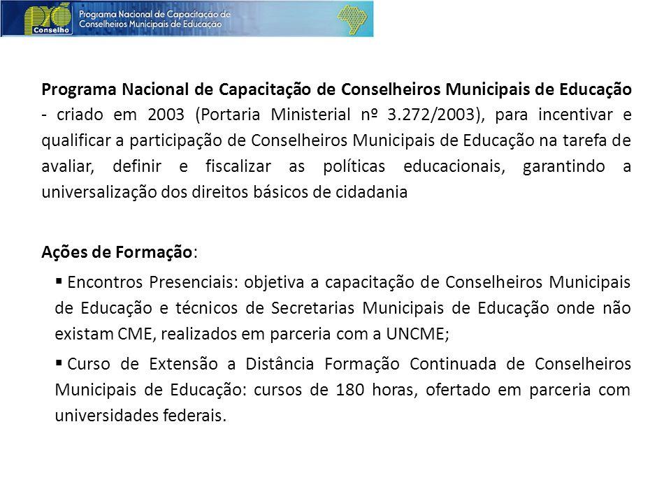 Programa Nacional de Capacitação de Conselheiros Municipais de Educação - criado em 2003 (Portaria Ministerial nº 3.272/2003), para incentivar e quali