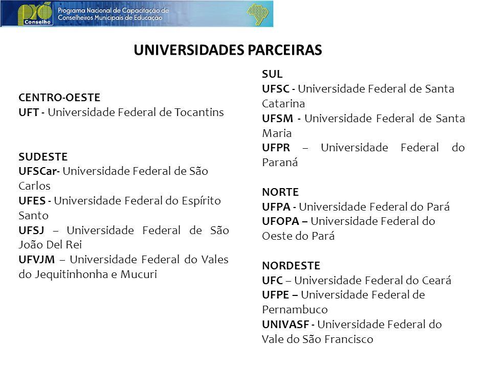 CENTRO-OESTE UFT - Universidade Federal de Tocantins SUDESTE UFSCar- Universidade Federal de São Carlos UFES - Universidade Federal do Espírito Santo