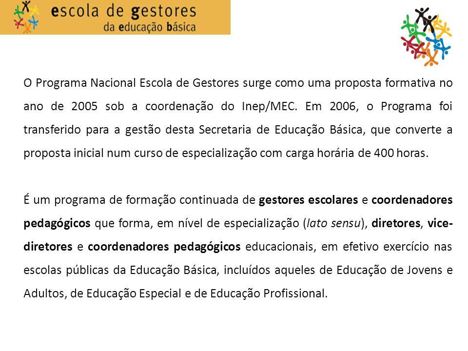 O Programa Nacional Escola de Gestores surge como uma proposta formativa no ano de 2005 sob a coordenação do Inep/MEC. Em 2006, o Programa foi transfe