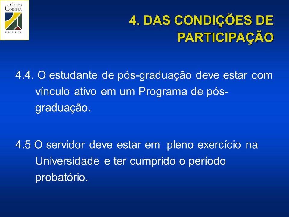 4.4.O estudante de pós-graduação deve estar com vínculo ativo em um Programa de pós- graduação.