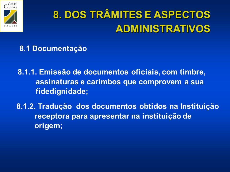 8.DOS TRÂMITES E ASPECTOS ADMINISTRATIVOS 8.1 Documentação 8.1.1.