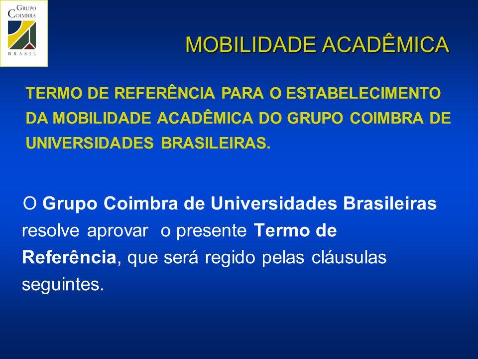 MOBILIDADE ACADÊMICA O Grupo Coimbra de Universidades Brasileiras resolve aprovar o presente Termo de Referência, que será regido pelas cláusulas seguintes.